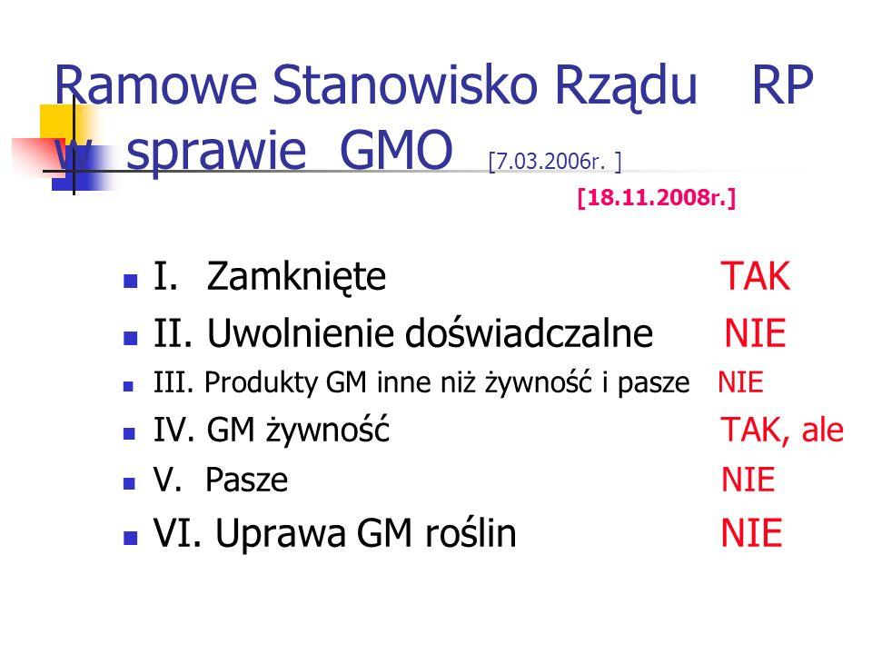 Ramowe Stanowisko Rządu RP w sprawie GMO [7.03.2006r. ] [18.11.2008r.]